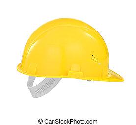 sárga, biztonság, építő, nehéz kalap, elszigetelt, noha,...