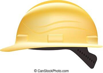 sárga, biztonság, nehéz kalap, elszigetelt, képben látható, egy, fehér, háttér., vektor, illustration.