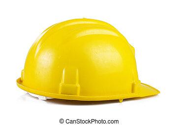 sárga, biztonság sisak, képben látható, a, white háttér