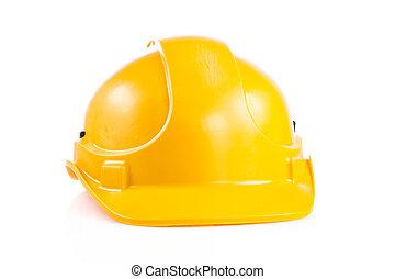 sárga, biztonság sisak, white, háttér., nehéz kalap,...