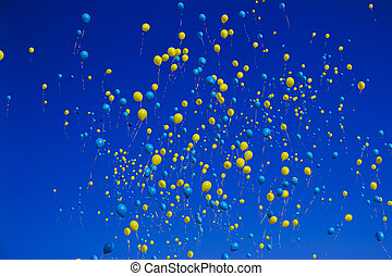 sárga blue, léggömb