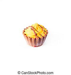 sárga, cupcake, white, háttér., chocolate torta