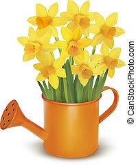 sárga, friss, visszaugrik virág