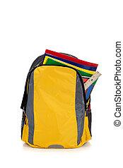 sárga, hátizsák, noha, iskola ellátmány