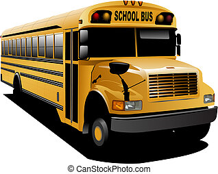 sárga, izbogis, bus., vektor, ábra
