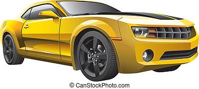 sárga, izom, autó