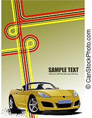 sárga, kabrió, az úton
