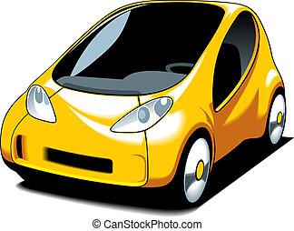 sárga, kicsi autó, tervezés
