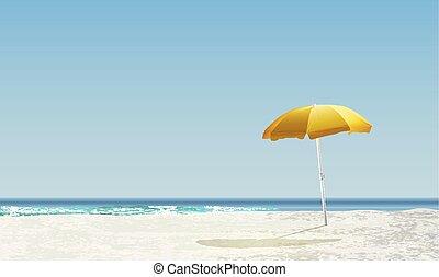 sárga, napernyő, gyakorlatias, táj, vektor, napnyugta, ábra, tengerpart, napkelte, /