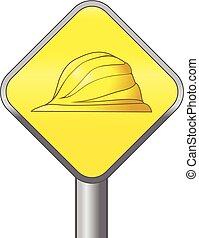 sárga nehéz kalap, biztonság, jelkép, vektor, ikon