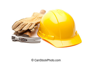 sárga nehéz kalap, pár kesztyű, és, kalapács, white
