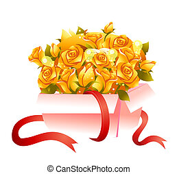 sárga rózsa, alatt, egy, doboz