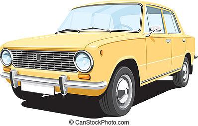 sárga, retro, autó