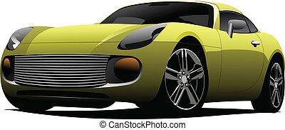 sárga, sport, autó, képben látható, a, road., hágó