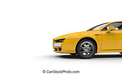 sárga, sportkocsi, kapcsoló