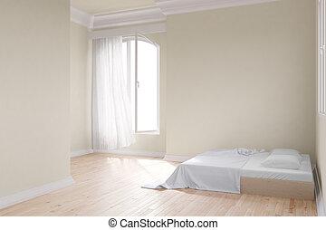 sárga, szoba, ágy
