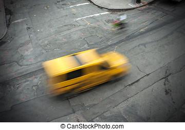 sárga taxizik, új york város, utcák