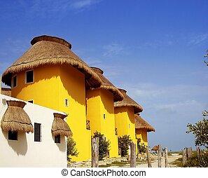 sárga, tropikus, épület, alatt, mexikó