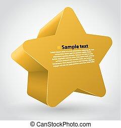 sárga, vektor, csillag, noha, text.