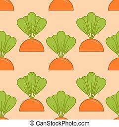 sárgarépa, nő, seamless, pattern., növényi, képben látható, kert, ágy, háttér