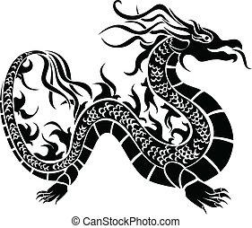 sárkány, stencil, fekete, ázsiai