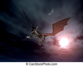 sárkány, támad, 2
