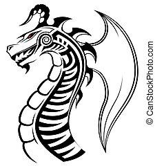 sárkány, tetovál, törzsi