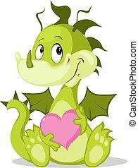 sárkány, -, vektor, befolyás, csinos, betű, szív, ábra, rózsaszínű