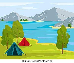 sátor, hegy., kempingezés, tó