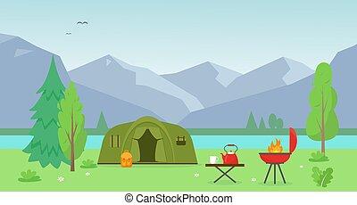 sátor, kempingezés, tó, hegy.