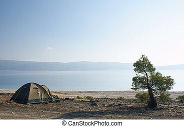 sátor, tó, kék ég