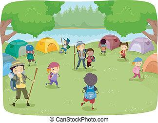 sátortábor hely, gyerekek