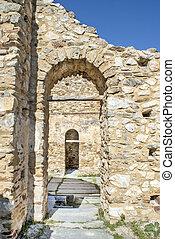 são, achilleios, antigas, bizantino, igreja, ruínas, em, lago, prespa, em, grécia
