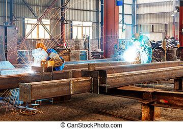são, corte, trabalhadores aço