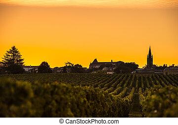 são, emilion, vinhedo, amanhecer, vinho bordéus