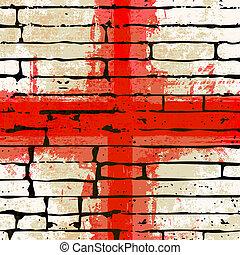 são, inglês, george, grunged, crucifixos