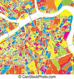 são, mapa, vetorial, petersburg, rússia, coloridos
