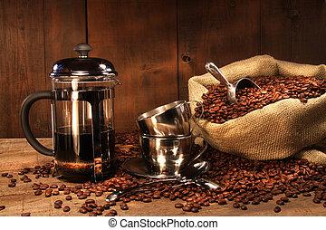säck, av, kaffe böna, med, franskapress