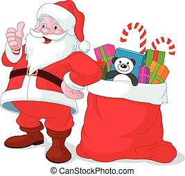 säck, claus, jultomten, fyllda, gåvor