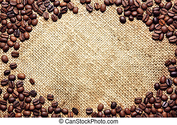säck, traditionell, bönor, ram, vävnad, gjord, kaffe