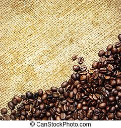 säck, traditionell, bönor, vävnad, kaffe