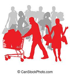 säcke, begriff, shoppen, abstrakt, verkauf, karren, vektor, hintergrund, mann, frauen