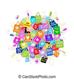 säcke, begriff, shoppen, groß, verkauf, design, dein