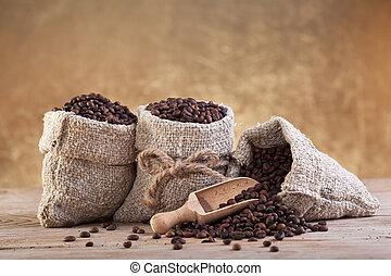 säcke, bohnenkaffee, sackleinen, gebraten