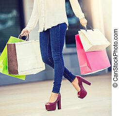 säcke, einkaufszentrum, frau- einkaufen, besitz
