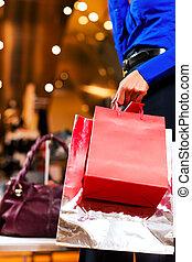säcke, einkaufszentrum, frau- einkaufen