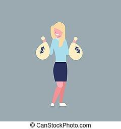 säcke, frau, buero, geschaeftswelt, erfolgreich, geld, arbeiter, freigestellt, besitz, geschäftsfrau