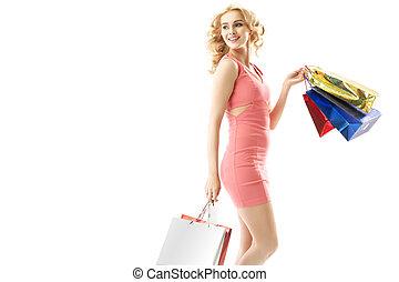 säcke, frau- einkaufen, besitz, lächeln, bündel