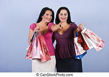 säcke, frau- einkaufen, besitz, zeigen