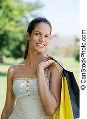 säcke, frau- einkaufen, junger, lächeln glücklich